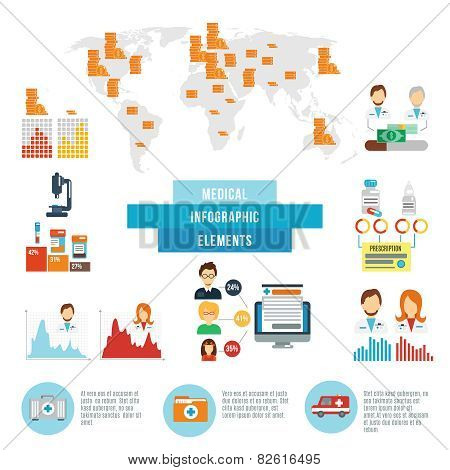 Medical data facts infographic elements