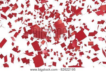 Red confettei on white background. Slight motion blur. no depth.