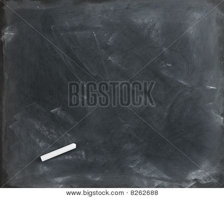 Blank Blackboard And Chalk Straight On 2