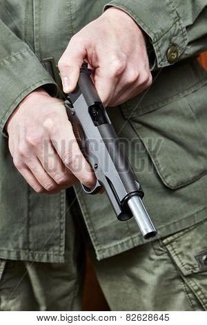 The soldier shutter cocking pistol a gun poster