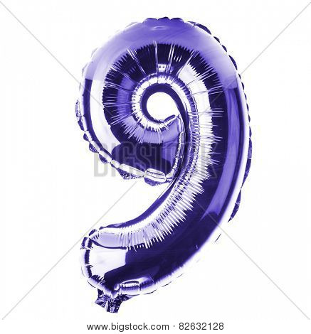 Purple Chrome balloon font part of full set of numbers, number nine , 9