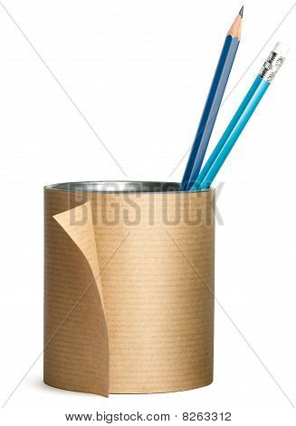 Pen, Pencil Pot Wrapped Up In Brown Paper