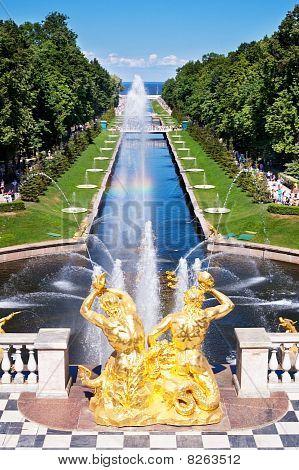 Fountain In Peterhof. St. Petersburg. Russia