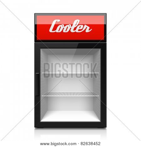 Mini glass door display cooler. Vector.