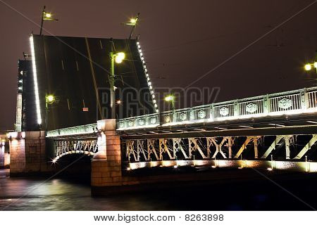 dvortsovy bridge in St. Petersburg. Night. Russia. poster