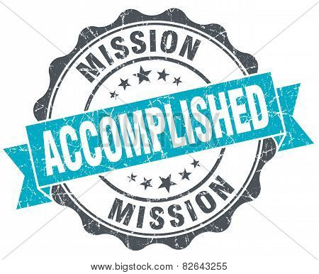 Mission Accomplished Vintage Turquoise Seal Isolated On White