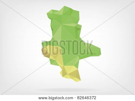 Low Poly map of german region Sachsen-Alhalt