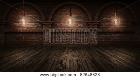 Vintage hanging energy light bulbs on brick wall background