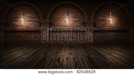 Vintage hanging energy light bulbs on brick wall background