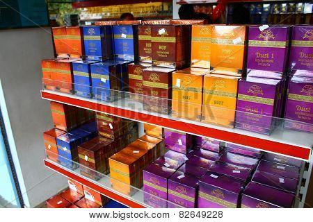 Nuwara Eliya, Sri Lanka, December 10, 2014. Rack with black Ceylon tea, December 10, 2014 in Nuwara Eliya, Sri Lanka