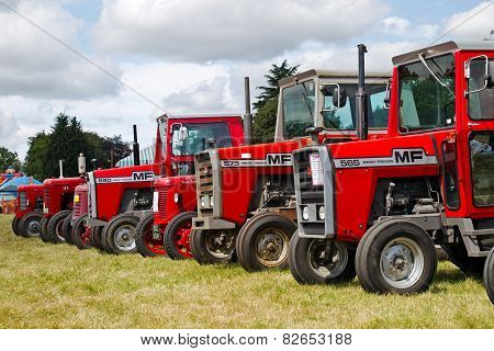 Red tractor lineup