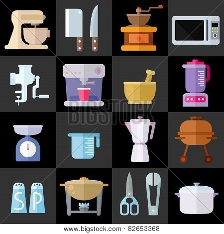 Kitchen Utensils Flat Icons