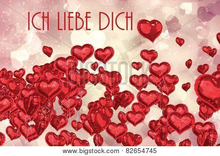 ich liebe dich against valentines heart design