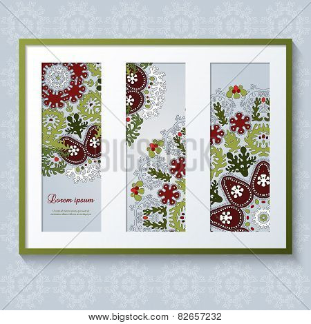 3D Picture Frame With Ornaments. Triptych.