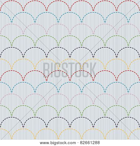 Traditional Japanese Embroidery Ornament with colorful waves. Sashiko. Seamless vector.