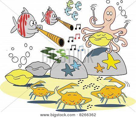 Funny fish musical cartoon