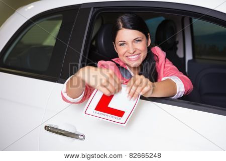 Cheerful female driver tearing up her L sign at new car showroom