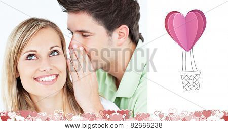 Young man whispering something to his attentive female friend against heart hot air balloon