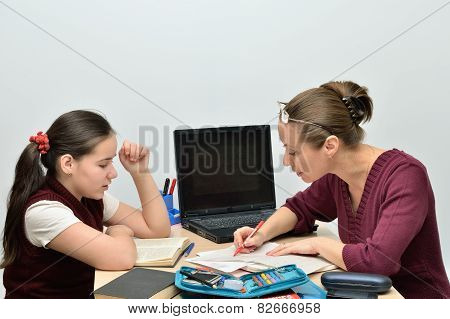 Teacher teaches teen girl people smile while practicing reading. poster