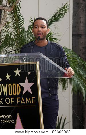 LOS ANGELES - JAN 28:  John Legend at the Ken Ehrlich Hollywood Walk of Fame Star Ceremony at a Capital Records Building on January 28, 2015 in Los Angeles, CA
