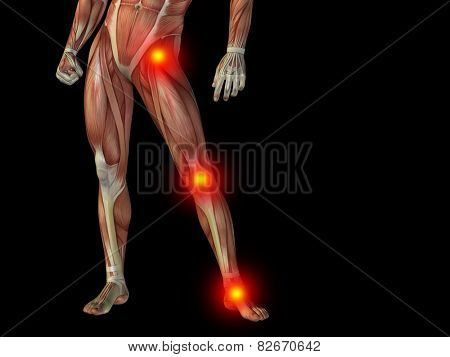 Conceptual human man anatomy lower body or health design, joint or articular pain, ache or injury on black background for medical, fitness, medicine, bone, care, hurt, osteoporosis, painful, arthritis poster