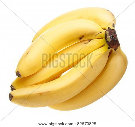 poster of A bunch of bananas isolated on white background