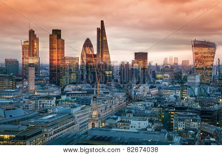 LONDON, UK - JANUARY 27, 2015: City of London, business and banking aria. London's panorama in sun