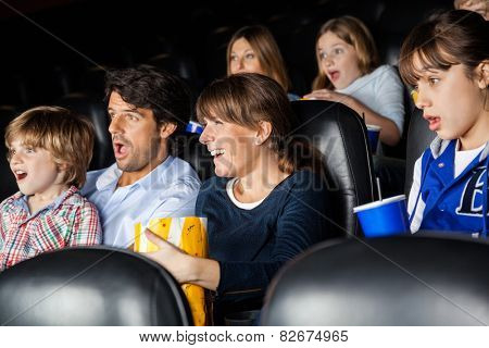 Amazed families watching movie in cinema theater