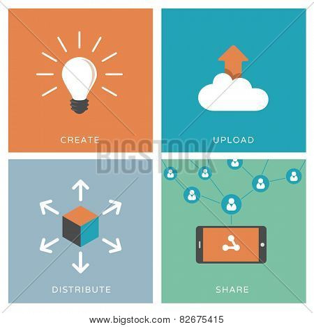 Process of content distribution, social network and viral marketing concept - Set of modern flat design illustrations / icons