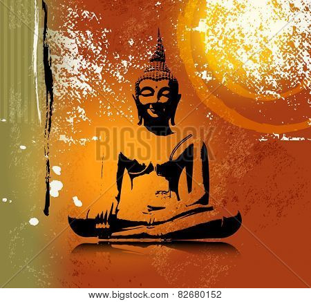 Buddha silhouette in lotus position against colorful grunge background poster