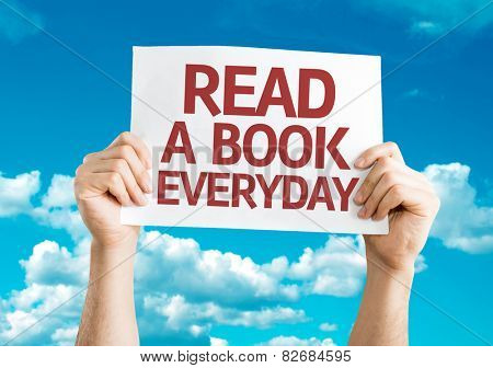 Read a Book Everyday card with sky background