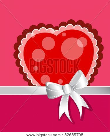 Beautiful frilly heart with silver bow and ribbon- room for your input