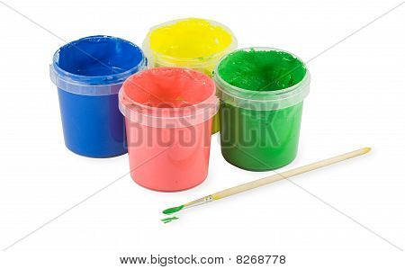 Blue, Red, Yellow, Green Paint Brush And Cans isolated on white background poster
