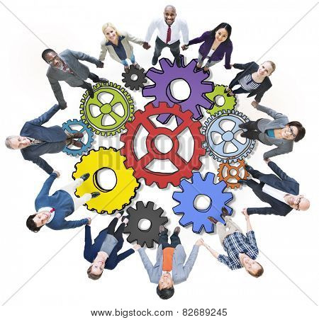 Group People Holding Hands Gear Symbol Photo Illustration Concept