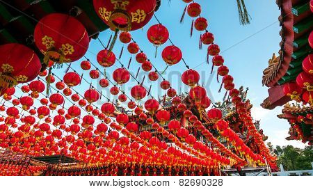 The Thean Hou Temple with up hundreds of lanterns hung across the courtyard in preparation for the coming Chinese New Year. poster