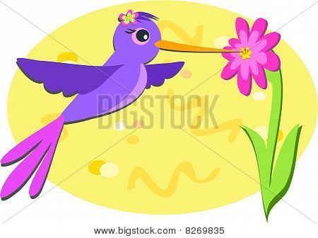 Purple Hummingbird and Pink Flower