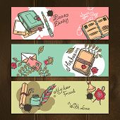 Diary nostalgia memo notebook vintage horizontal sketch banners set isolated vector illustration poster