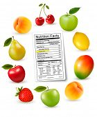 Fresh fruit with a nutrition facts label, Vector poster