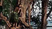 Indigene woman in the palm skirt on the tropical forest and sea background poster
