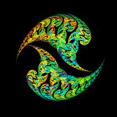 Unusual paisley fractal ying and yang shapes over black background poster