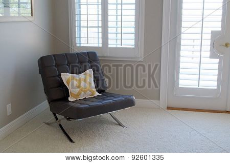 Leather Seat In Empty Room