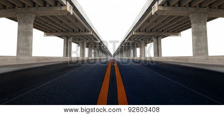 Perspective On Bridge Ram Construction And Asphalt Raod Isolated White Background Use For Infra Stru