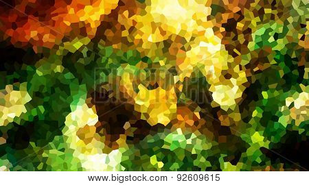 abstract background with geometrical shapes in green, yellow and ocre tones