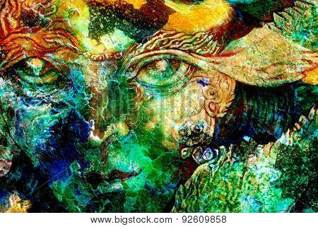 elven fairy creatures and energy lights an insight in a fairy realm face portrait closeup cracklle effect collage poster