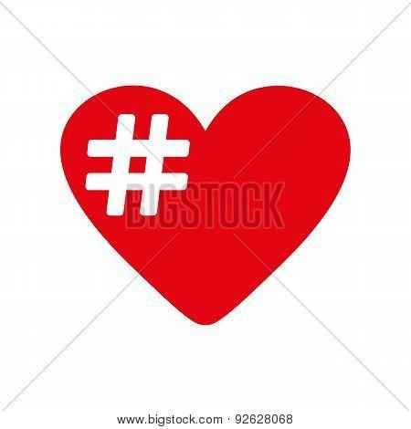 The Hash Love Icon. Hashtag Heart Symbol. Flat