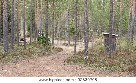 Campsite, place in a forest with table and outhouse.