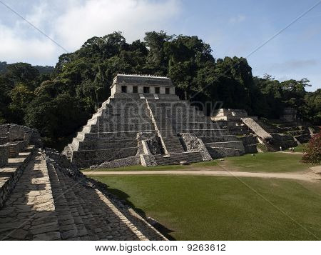 The Pyramids And The Temple In Palenque, Mexico