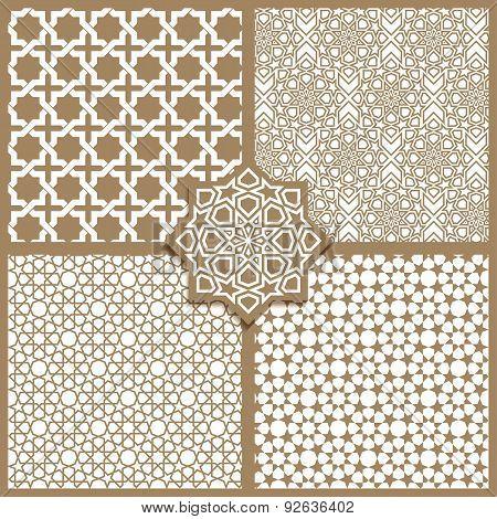 Seamless Islamic Patterns Set In Beige