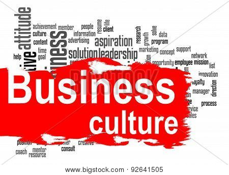 Business Culture Word Cloud With Red Banner