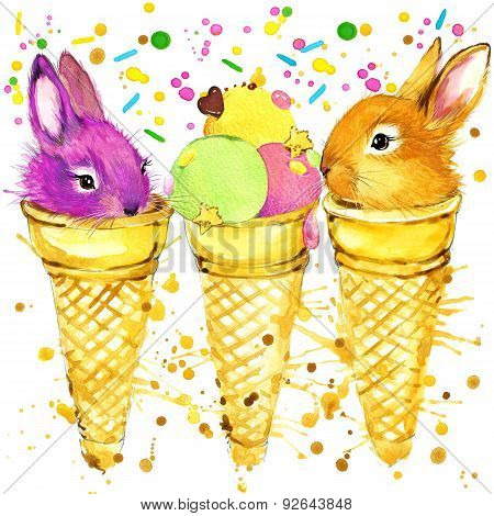 Funny rabbits and popsicles with watercolor splash textured